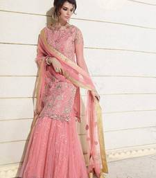 Buy Pink Georgette embroidered semi stitched salwar with dupatta party-wear-salwar-kameez online