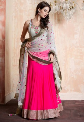 Pink and White Embroidered Georgette Lehenga With Blouse