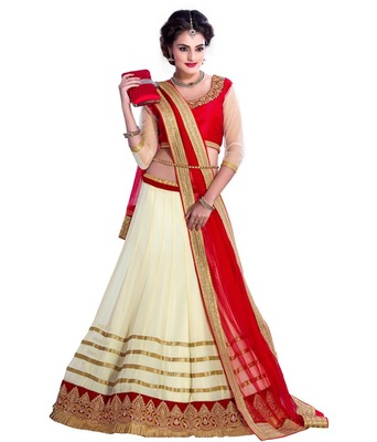 White and Red Embroidered Designer Faux Georgette Lehenga With Blouse