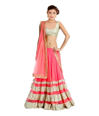 Pink Sequence Work Dsigner Net Lehenga with Blouse