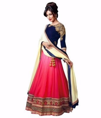 Pink and Blue Embroidered Designer Georgette Lehenga With Blouse