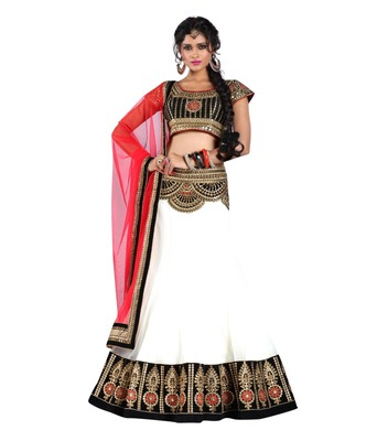 White Embroidered Designer Georgette Lehenga with Blouse
