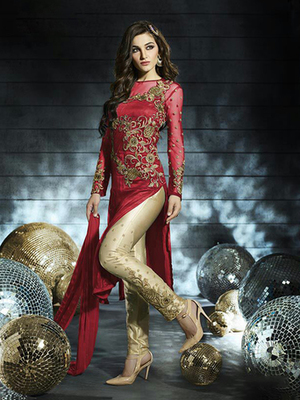 Red Net embroidered semi stitched salwar with dupatta