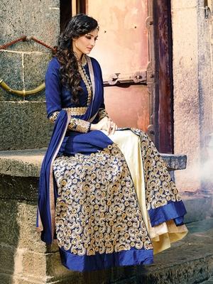 Blue silk embroidered semi stitched salwar with dupatta