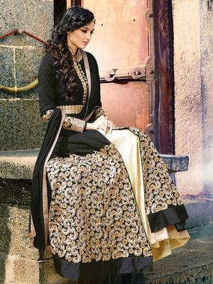 Black silk embroidered semi stitched salwar with dupatta