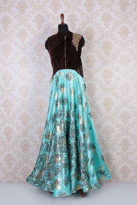 Brown and blue velvet and satin silk sleeveless embroidered gown with mandarin collar