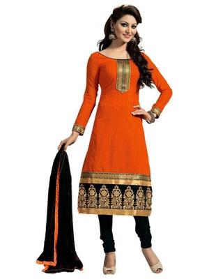 Orange cotton embroidered semi stitched salwar with dupatta