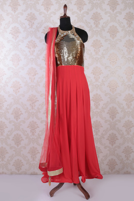 tomato peach and gold georgette embroidered divine anarkali with closed neck