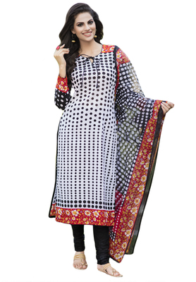 Black and White and Red printed Cotton unstitched salwar with dupatta