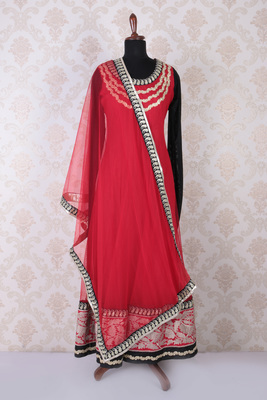 Red multicoloured embroidered lovely anarkali with round neck