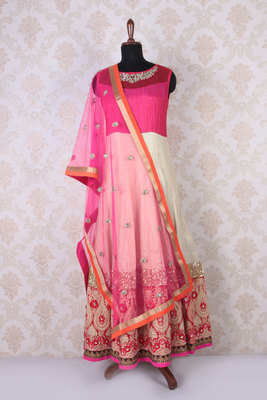 Pink multicoloured net and shimmer fashionable anarkali with round neck