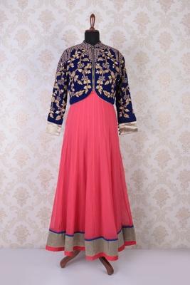 Pink multicoloured velvet and georgette embroidered elegant anarkali