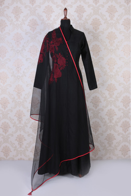 Black and red raw silk embroidered trendy anarkali with mandarin collar