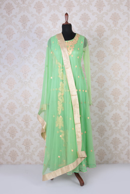 Mint green net classic embroidered marvellous anarkali with round neck