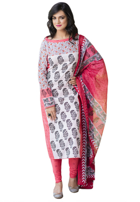 Coral Red and White printed Cotton unstitched salwar with dupatta