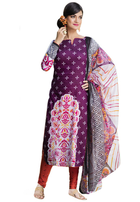 Wine and Orange and White printed Cotton unstitched salwar with dupatta