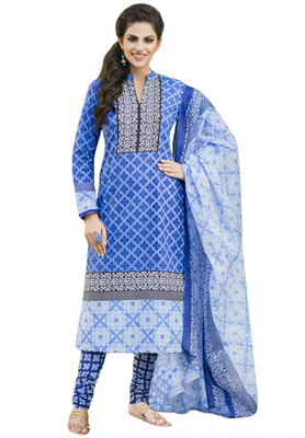 Blue and White printed Cotton unstitched salwar with dupatta
