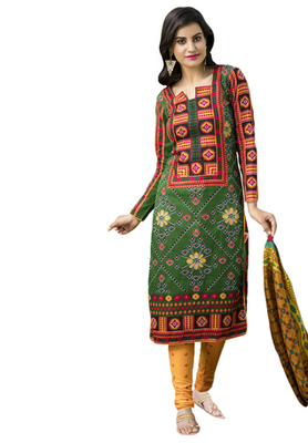 Green and Orange and Red printed Cotton unstitched salwar with dupatta