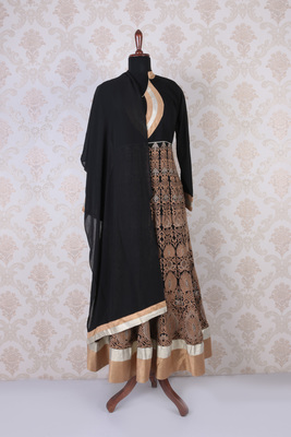 Black multicoloured georgette embroidered ethereal anarkali with mandarin collar