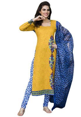 Dark Yellow and Blue printed Cotton unstitched salwar with dupatta