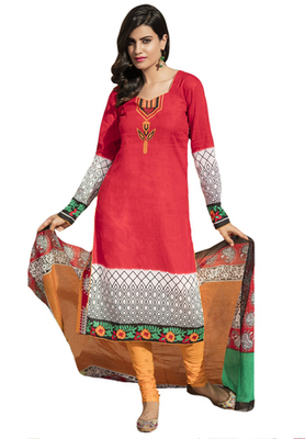 Red and White and Green printed Cotton unstitched salwar with dupatta