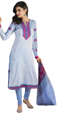 Light Blue and Pink printed Cotton unstitched salwar with dupatta