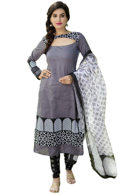 Black and White printed Cotton unstitched salwar with dupatta