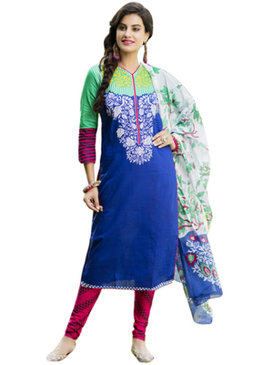 Blue and Green and White printed Cotton unstitched salwar with dupatta