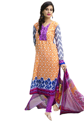 Orange and Rani and Blue printed Cotton unstitched salwar with dupatta