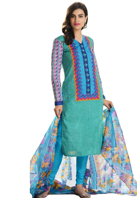 Green and Multicolor printed Cotton unstitched salwar with dupatta