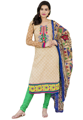 Beige and Multicolor printed Cotton unstitched salwar with dupatta