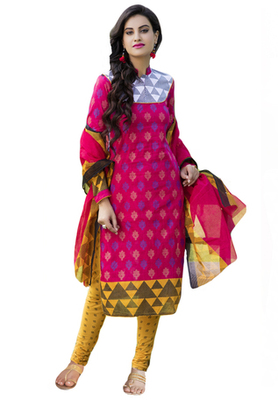 Pink and Dark Yellow printed Cotton unstitched salwar with dupatta