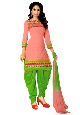 Coral Pink embroidered Cotton unstitched salwar with dupatta