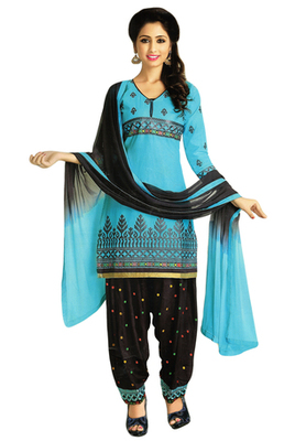 Sky Blue and Black embroidered Cotton unstitched salwar with dupatta