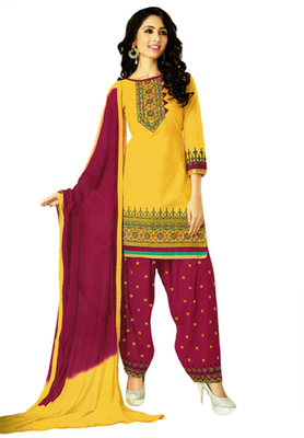 Dark Yellow and Wine embroidered Cotton unstitched salwar with dupatta