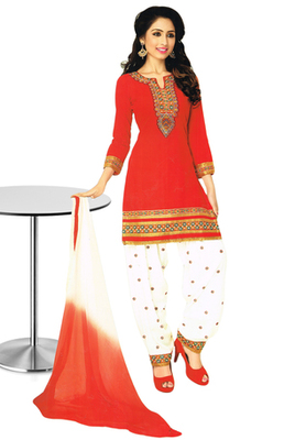 Red and Off White embroidered Cotton unstitched salwar with dupatta