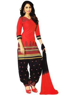 Red and Black embroidered Cotton unstitched salwar with dupatta
