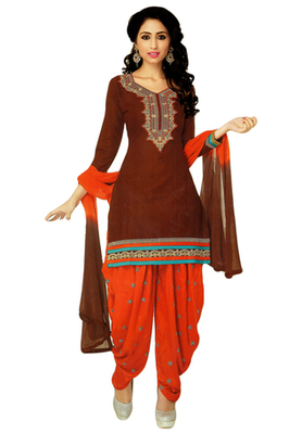 Brown and Orange embroidered Cotton unstitched salwar with dupatta