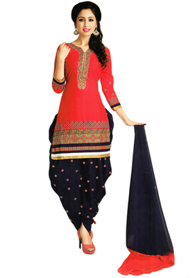 Corel Red and Voilet embroidered Cotton unstitched salwar with dupatta