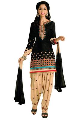 Black and Beige embroidered Cotton unstitched salwar with dupatta