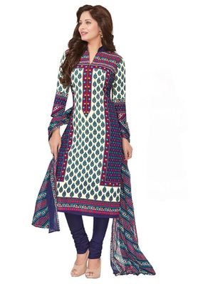 Cream and Deep Voilet printed Cotton unstitched salwar with dupatta