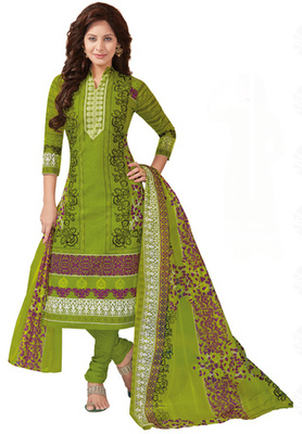 Yellow Green and Rani printed Cotton unstitched salwar with dupatta