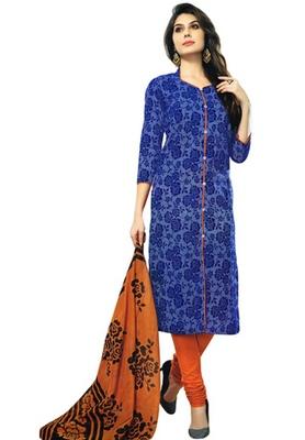 Blue and Orange printed Cotton unstitched salwar with dupatta