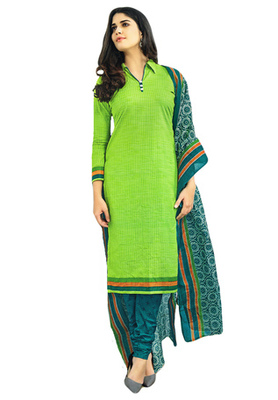 Pastel Green and Peacock Green printed Cotton unstitched salwar with dupatta