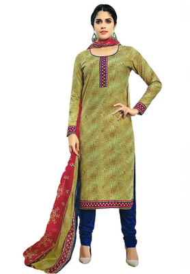 Bronze Green and Maroon  printed Cotton unstitched salwar with dupatta