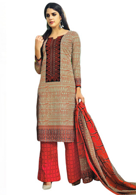 Grey and Coral Pink printed Cotton unstitched salwar with dupatta