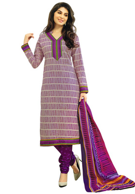 Grey and Voilet printed Cotton unstitched salwar with dupatta