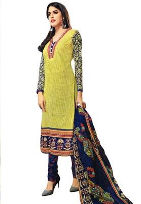 Fresh Green and Dark Blue printed Cotton unstitched salwar with dupatta