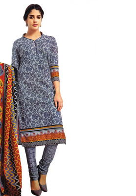 Grey and Red printed Cotton unstitched salwar with dupatta