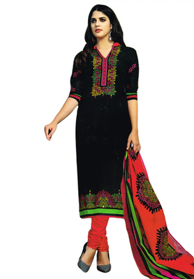 Black and Multicolor printed Cotton unstitched salwar with dupatta